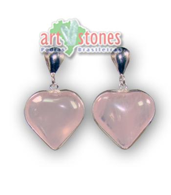 Brinco de Coração em Quartzo Rosa com Prata 925